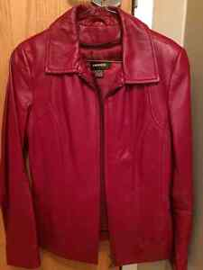 Danier red leather jacket, lined, size xs