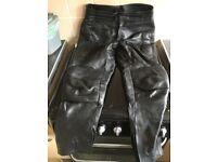 Rhino Black leather motorbike leathers trousers