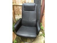 Swivel reclining leather type PC chair etc office