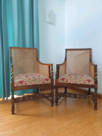 Pair of Oak bergere chairs early 1900's.