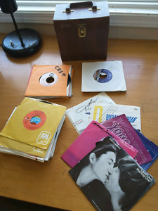 50 45 rpm records and case 70s and 80s