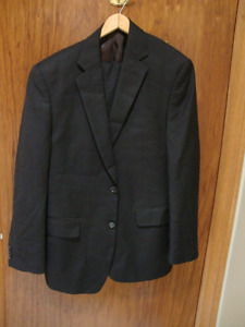Men's  Black Perry Ellis Suit with Brown Pinstripes