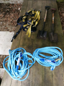 Roofing shovels and safety equipment