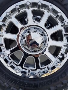 4 NEW PROCOMP CHROME RIMS WITH NEW TOYO M/T LT35/12.5/20