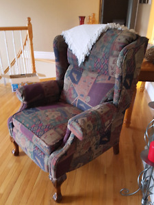 Couch, love seat and wing back chair