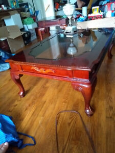 Cherry stained coffee table and end tables with glass tops