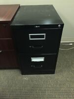 2-High Vertical Filing Cabinet - Black