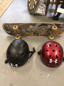 Skateboard and Helmets