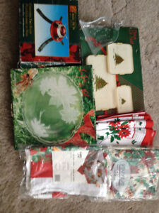 CHRISTMAS TREE STAND,TABLE CLOTHS,TEA TOWELS,PLATTERS