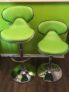 2 Contemporary Style Lime Green Adjustable  Stools