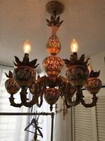 6 arm Italian hand painted chandelier
