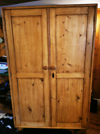 Old Large Antique double wardrobe/ armoir, continental pine
