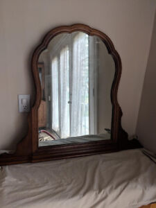 Solid Antique Wood Dresser Mirror
