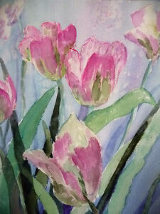 """Summer Flowers by M. Knox """"Pretty in Pink"""" Watercolor, 1970 Stratford Kitchener Area image 9"""