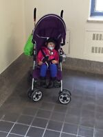 Purple umbrella stroller