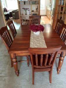 Solid Wood Table with 6 chair set