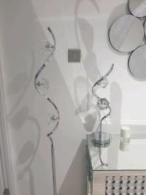 Litecraft Chrome Diamond-cut Glass Twist Floor and Table Lamp Set