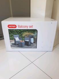 Keter Rattan Allibert Iowa Balcony Garden Furniture Set