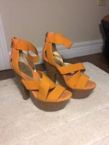 Orange strap heels