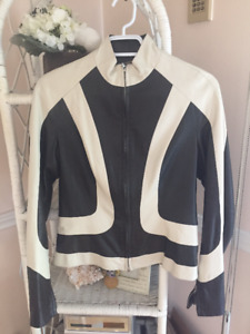 Made in Italy! M Siamo Brown White Leather Jacket Women-M