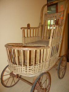 Antique Wicker Baby Carriage...price reduced London Ontario image 2