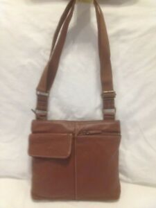 Roots 73 Classic Light Brown Leather Cross Body Bag