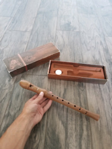 Vintage Hohner pearwood recorder with box