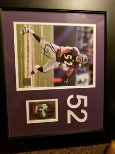 Ray Lewis framed picture and card. Autographed