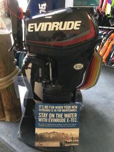 """E25DRGL Evinrude 25 HP, 20"""", Tiller, Rope Start and Manual Tilt"""