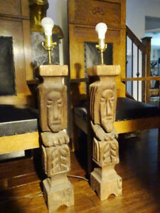 OOGA MOOGA tribal lamps TIKI BAR Polynesian CARVED 3'Tall