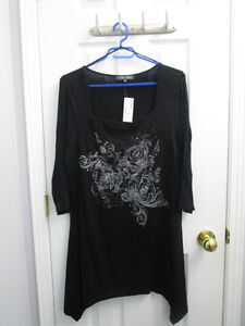 Ladies plus black pattern tunic from AE in size 1X *NEW/TAGS
