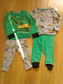 Two pairs green crane pyjamas size 18-24 months