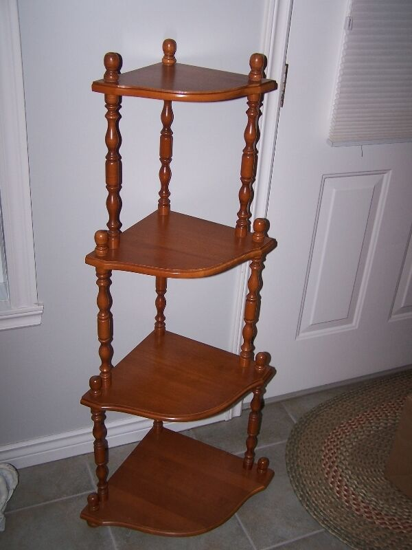 roxton maple 4 tier corner nick nack shelf unit bookcases