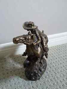 COWBOY RIDING A HORSE ARMED ART SCULPTURE - BRAND NEW London Ontario image 3