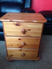 Bedside cabinet wooden excellent condition pine