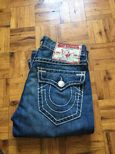 Mens Real TRUE RELIGION JEANS STRAIGHT** 32-32 ...BILLY SUPER T