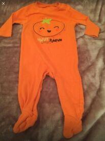 Pumpkin baby grow 3-6 months