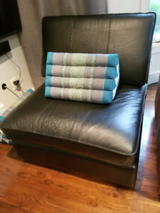 Black leather slipper chair(s) / love seat