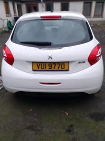 Peugeot 208 white 5 door 57,500 miles free tax 2013 touchscreen