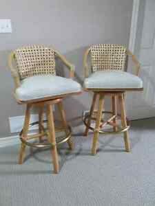 BAMBOO SWIVEL BAR COUNTER STOOLS (SET OF 2) - REDUCED PRICE London Ontario image 2