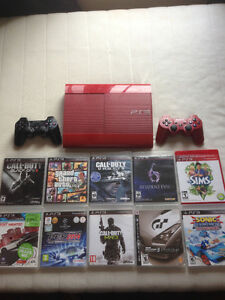 Playstation 3 Slim Edition Red With Games And 2 Controlers 500GB