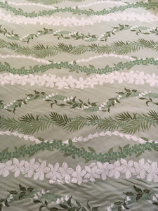 Tropical fabric - 90+ yards green with green & white flowers