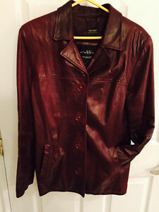 Beautiful burgundy real leather jacket size S