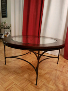 Round Glass, Wrought Iron Coffee Table