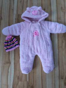Manteau en polar pour bébé fille, 3 mois avec tuque