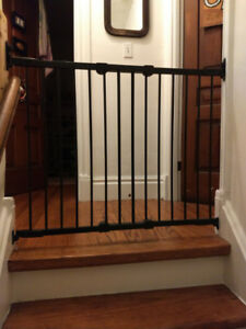 Black baby gate - top of stairs drill-in
