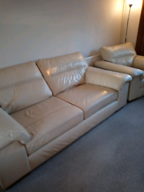 Marks and Spencers foam seat cream leather three piece suite