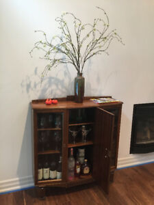 Antique Library Bookcase in White Oak circa 1930's, Glass Doors