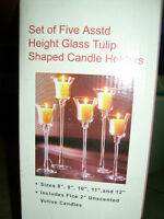 Set of 5 Glass Votive Candle Holders in Graduated Sizes