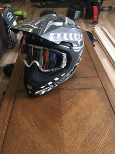 Zoan Open Face Snowmobile Helmet and Goggles